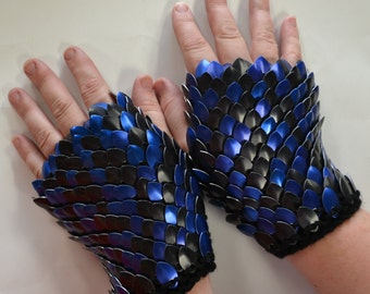 Fingerless Gloves scaled in blue and black, choose your size Dragonhide Armor