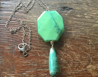Green Chrysoprase Sterling Silver Necklace