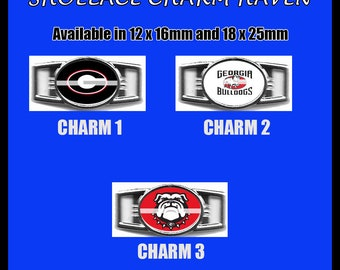 GEORGIA BULLDOGS Shoelace Charm  Paracord Bracelet Charm Oval Charm 12 x 16mm or 18 x 25mm Charms