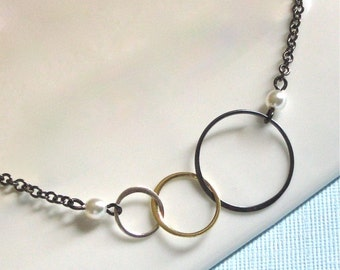Mixed Metal Circle Necklace - Pearl, Three Circles, Pearl Necklace,