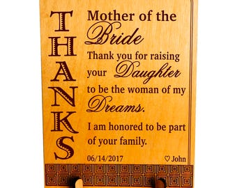 Bride's Mother Custom Plaque Gift from Groom, Keepsake for Brides Mom - Mother in Law, Wedding Thank You Parents of the Bride Gift, PWP007