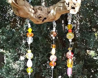 Yellow Glass Bead Windchime - Driftwood Sun Catcher - Boho Window Decor - Hanging Garden Art - Beaded Suncatcher Mobile - Bell Wind Chime