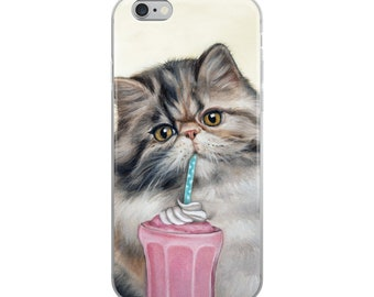 Cat cell phone case, kitten phone case, cat with milkshake phone case,  kitten iphone case, persian cat mobile case, cat samsung case