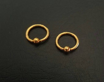 "20g 18g 16g 1/4"" (6mm) Tiny Gold Titanium IP Captive Bead Ring Nostril Hoop Forward Helix Ring Tragus Cartilage ring Stainless Steel"