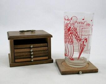 Vintage Wooden Coaster Set