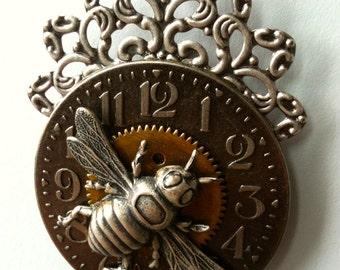 Steampunk Silver Bee Necklace - Unique Bee Pendant - Clock Pendant - Unique Steampunk Jewelry - Original Limited Edition - Insect Jewelry