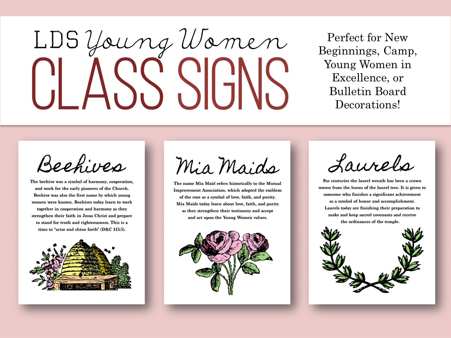 Lds young women class poster set sign decoration beehive zoom biocorpaavc