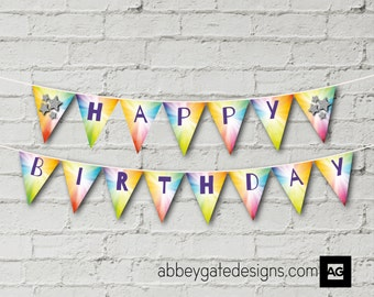 Pop Party Birthday Bunting, Instant Download,  Printable Pop Star Birthday Banner, Rainbow Bunting, Pop Party Bunting, Pop Party Banner