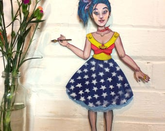 Bespoke paper doll. Lora Zombie Russian artist. Articulated paper marionette. Unique and handcrafted gift. SOLD