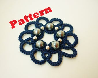 Easy PATTERN - Needle tatting pattern - beaded earrings - frivolité - occhi - tatted tutorial - Lace Jewelry beginner - Jewellery - Beads