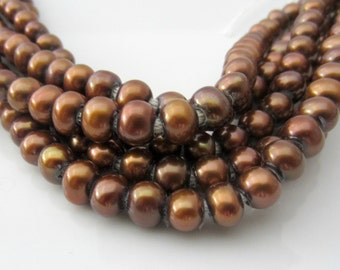 Brown Pearls, Large Hole Pearls, Big Hole  Pearls, Round Pearls, Potato Pearls, Large Pearls,  Real Pearl 2mm Hole Pearl, 6mm-7mm 10 Pcs