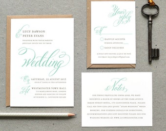 Printable Wedding Invitation PDF / 'Classic Calligraphy' Vintage Invitation / Mint Grey Gray / Digital File Only / Printing Also Available