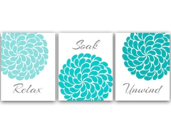 Bathroom Wall Art, PRINTS or CANVAS Relax Soak Unwind, Aqua & Gray Bathroom Decor, Modern Bathroom Art, Set of 3 Bath Art Prints - BATH5