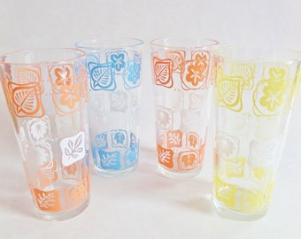 Mid Century Leaf Design Glasses - Set of 4 Tumblers - Salmon Orange, Yellow, Aqua Blue