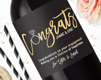Congratulations Engagement Wine Labels - Engagement Gifts for Couple - Unique Wedding Gift - Personalized Wine Label Stickers - Champagne