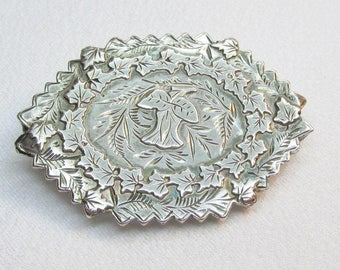 Antique Victorian Sterling Mourning Thistle Brooch Pin 1884