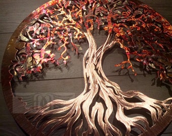 Copper Tree of Life Metal Wall Art ( 7th Anniversary)