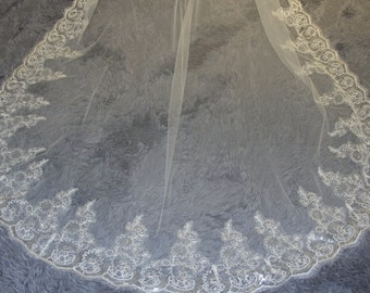 Sparkling cathedral veil, wedding veil, lace veil, sequin lace veil, white ivory chapel veil, the bride accessories