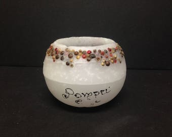"Carrie Fisher Estate:  Pompei White Wax Bowl from Carrie's Kitchen 3.5"" High"