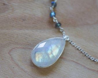 Rainbow Moonstone Pendant on Long Sterling Silver Chain, Long Layering Necklace, Bezel Set Rainbow Moonstone Necklace