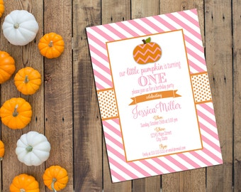 Little Pumpkin Birthday Party Invitation - Fall Birthday Party - Pink and Orange Stripes - Printable