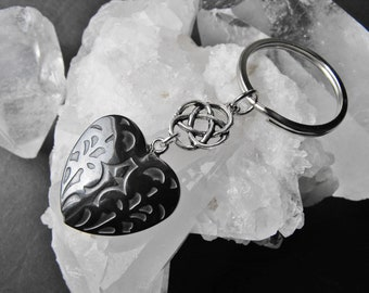 Hematite Heart and Celtic Knot Charm Keyring