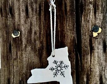 New York Ornaments, Snowflake Ornaments, Christmas Ornaments Handmade, White Ceramic Ornaments, Snow Ornaments, Handmade Ornaments, Upstate