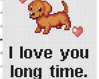 I love you long time - Weiner dog Funny Snarky Cross Stitch Pattern - Instant Download