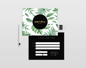 Tropical double sided gift certificate template - Instant download