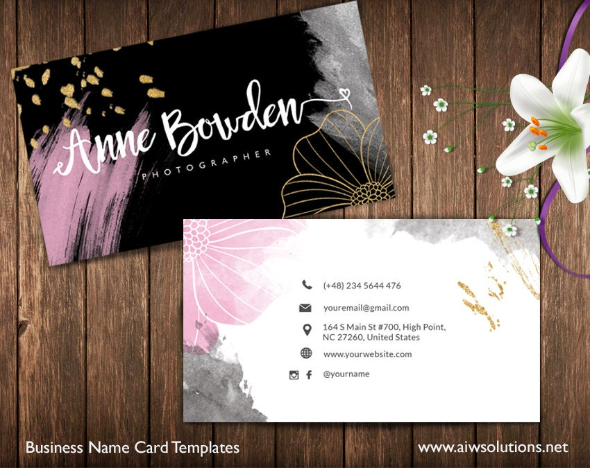 gold and pink Business Cards Name Card Template cute