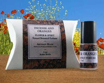 Incense & Oranges, Organic Botanical Perfume with Flower Essences and Essential Oils, Aromatherapy and Bach Flowers