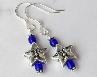 Celestial Happy Star Face Charm Earrings with Cobalt Blue Czech Glass Beads - Sterling Silver Earwires - Metaphysical