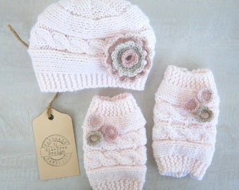 Baby Girl Hat and Leg Warmers - SET Newborn Baby Girl -Photography Photo Prop Set -Newborn Leg Warmers and Hat