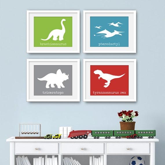 Dinosaur Art - Dinosaur Wall Art, Dinosaur Art Set, Dinosaur Art, Dinosaur Prints, Set of 4 Prints, Set of 4 Wall Art - KA4669F