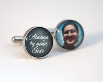 Groom gift, wedding gift for groom, Groom cufflinks, custom photo cuff links - Always by your side