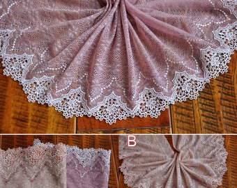 """5 meter 18cm 7.08"""" wide pink tulle gauze mesh fabric embroidered tapes lace trim ribbon H5Y448J1123N free ship"""