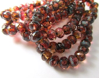 12 Marsala Rose Pink Fuchsia Peach Czech Glass 7mm x 5mm Rondelles, Faceted Glass with Mauve Burgundy Brown Picasso Jewelry Beads