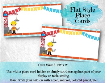 10 Flat Style Place Cards, Buffet Food Labels, Name Cards, Construction Theme, Worker, Crane Red, Blue, Yellow, Birthday Party, Baby Shower
