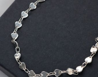 Sterling Heart Anklet - Heart Charm Anklet - Sterling Heart Bracelet