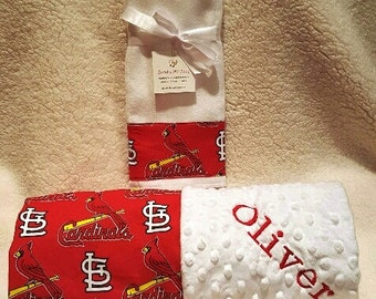 St. Louis Cardinals Baby Blanket Toddler Minky NAME Embroidered Gift Set Large Minky PERSONALIZED Baby Boy Girl  Blue Jays Mets Pirates