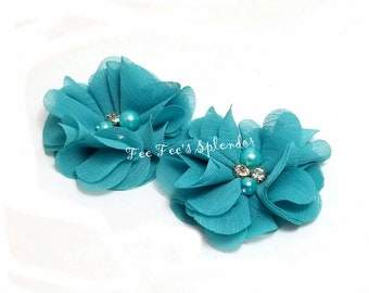 """Turquoise Chiffon flower- Pearl & rhinestone embellished flower- 2"""" Turquoise teal flower DIY hair clip accent - Headband flower"""