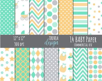 50% sale Baby digital paper, commercial use, digital paper, scrapbook paper, digital background, baby shower, paper pack, baby paper