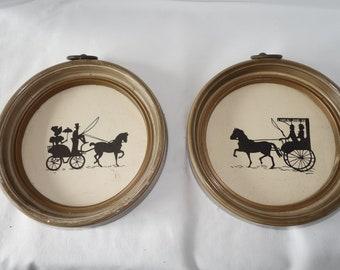 Set of 5 Vintage Round Silhouettes