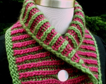 Wild Orchid Reversible Knit  Neckwarmer Pink Green Wool Pearly Buttons