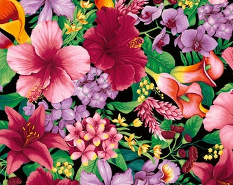 Tropical Floral, Timeless Treasures Fabric, C5436 Tropic, Garden, Orchid, Hibiscus, Beach Decor, Cotton Floral, Quilt, Fabric By the Yard