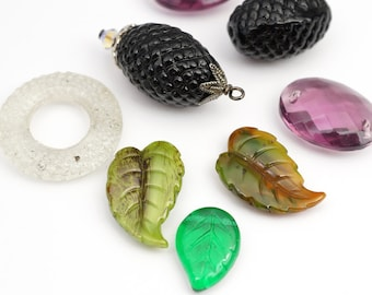 8 pcs vintage German glass beads, assorted leaves, textured ovals, ring, 2 hole ovals, asst color shape size