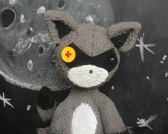 Raccoon polymer clay cake topper figurine
