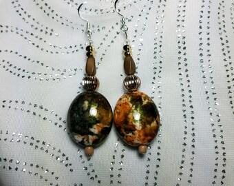 Camouflage Tan Green Orange Dangle Earrings