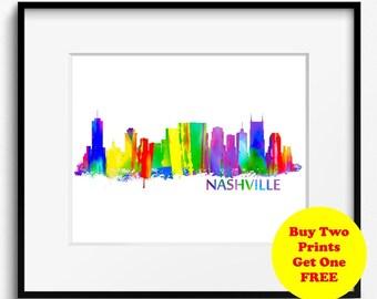 Nashville Skyline Watercolor Art Print (037)