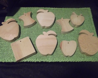9 pcs. Hand Cut Wooden Apple Cut-Outs for Crafts-NEW Unfinished Raw Wood 5/8 in.